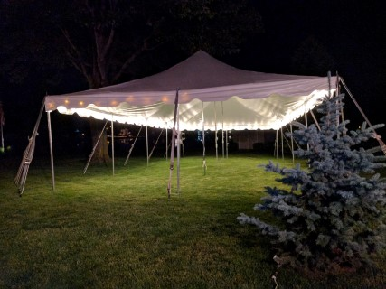 20' x 40' Pole Tent, Rope Lights.