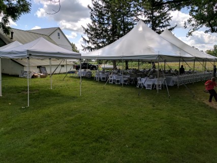 10'x 10' Frame Tents, 40' x 60' Pole Tent, White Padded Chairs, Round Tables, Linens.