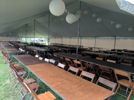 40' x 100' Pole Tent, Wooden Chairs, 8' Banquet Tables, Tent Lights, Solid Side Panels.