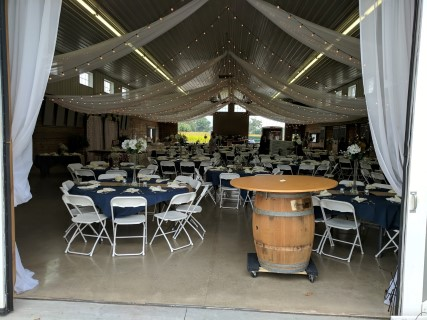 "White Steel/Plastic Chairs, 60"" Round Tables, Linens, Tent Lights."
